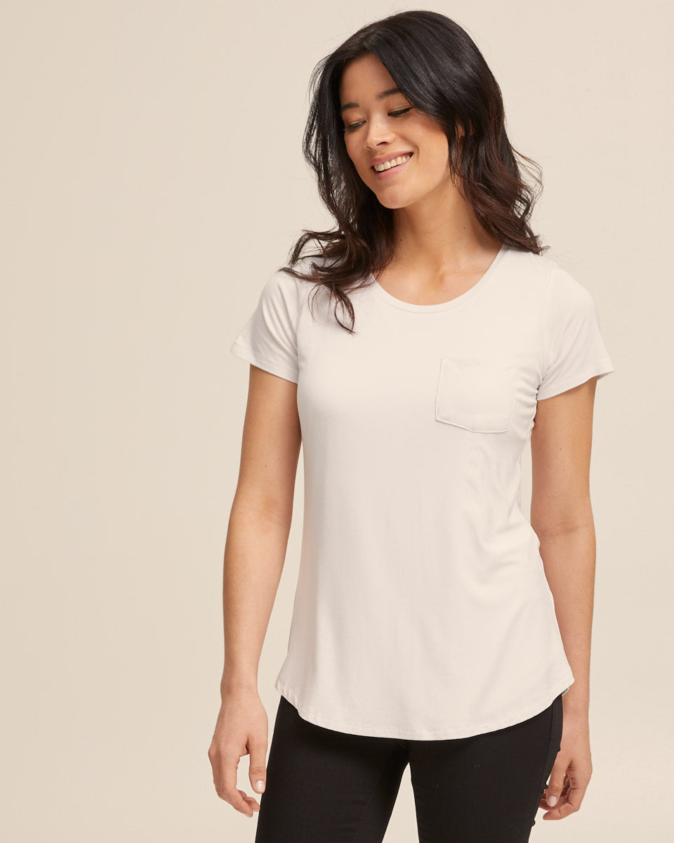White bamboo nursing tee by Peachymama 3