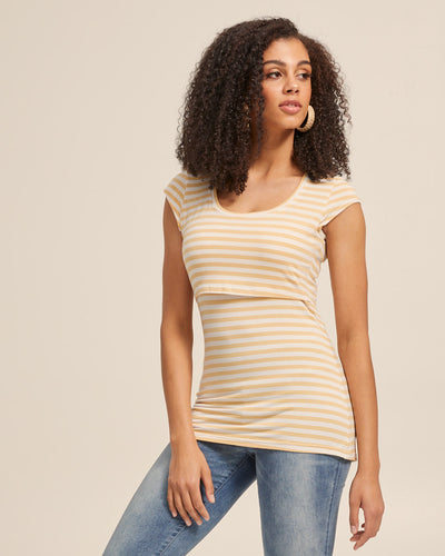 Bamboo Cap Sleeve Nursing Top - Sunshine Stripe - Peachymama - 1