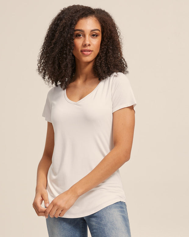 V Neck Bamboo Nursing Tee - White - Peachymama - 3
