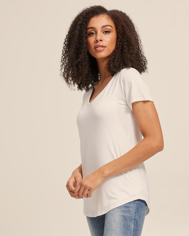 V Neck Bamboo Nursing Tee - White - Peachymama - 4