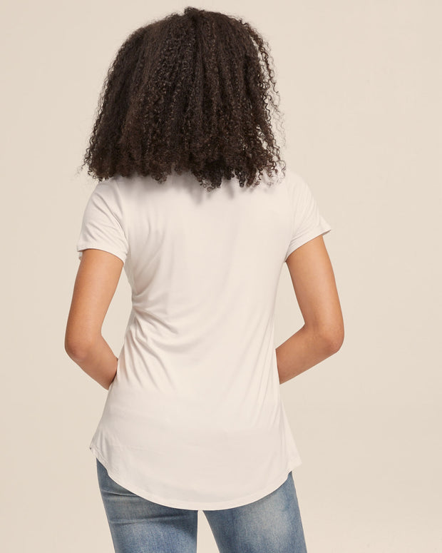 V Neck Bamboo Nursing Tee - White - Peachymama - 6