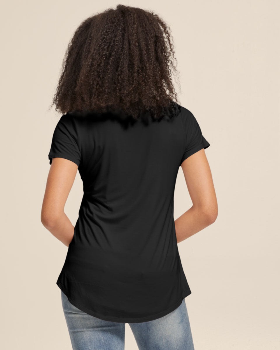 Bamboo Nursing V Neck Tee - Black