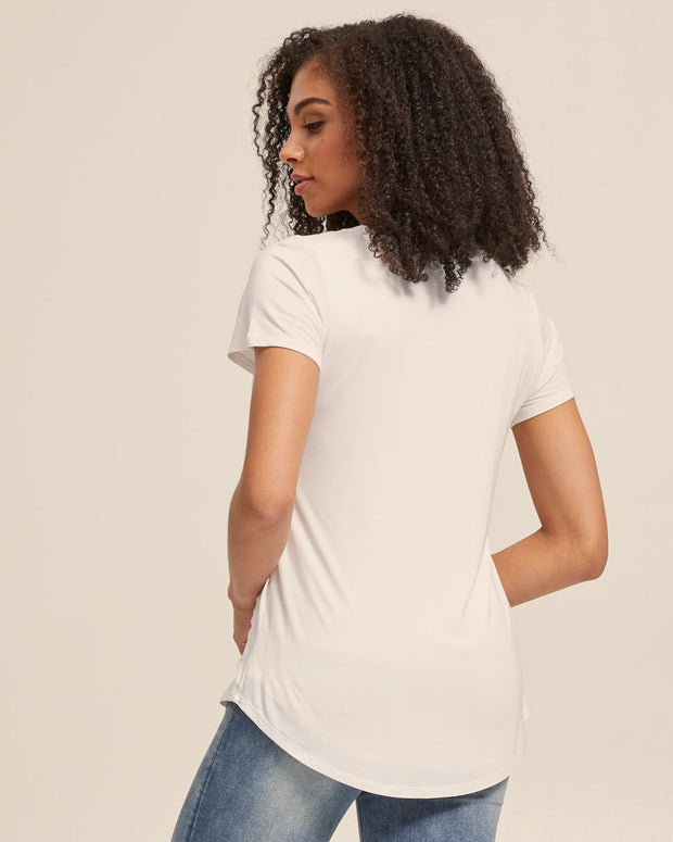 V Neck Bamboo Nursing Tee - White - Peachymama - 7