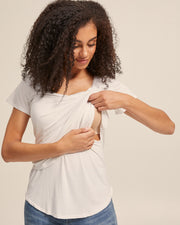 V Neck Bamboo Nursing Tee - White - Peachymama - 2