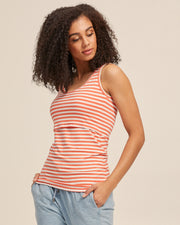 Bamboo Nursing Tank in Coral Stripe - Peachymama - 3
