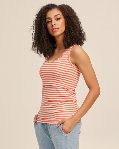 Bamboo Nursing Tank in Coral Stripe - Peachymama - 1