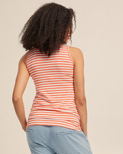 Bamboo Nursing Tank in Coral Stripe - Peachymama - 4