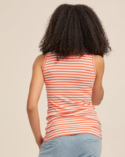 Bamboo Nursing Tank in Coral Stripe - Peachymama - 5
