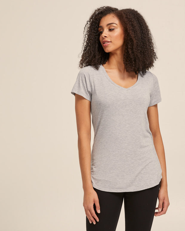V Neck Bamboo Nursing Tee - Grey Marle - Peachymama - 4