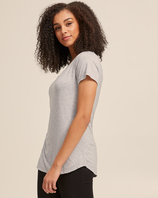V Neck Bamboo Nursing Tee - Grey Marle - Peachymama - 3