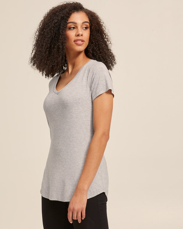 V Neck Bamboo Nursing Tee - Grey Marle - Peachymama - 5