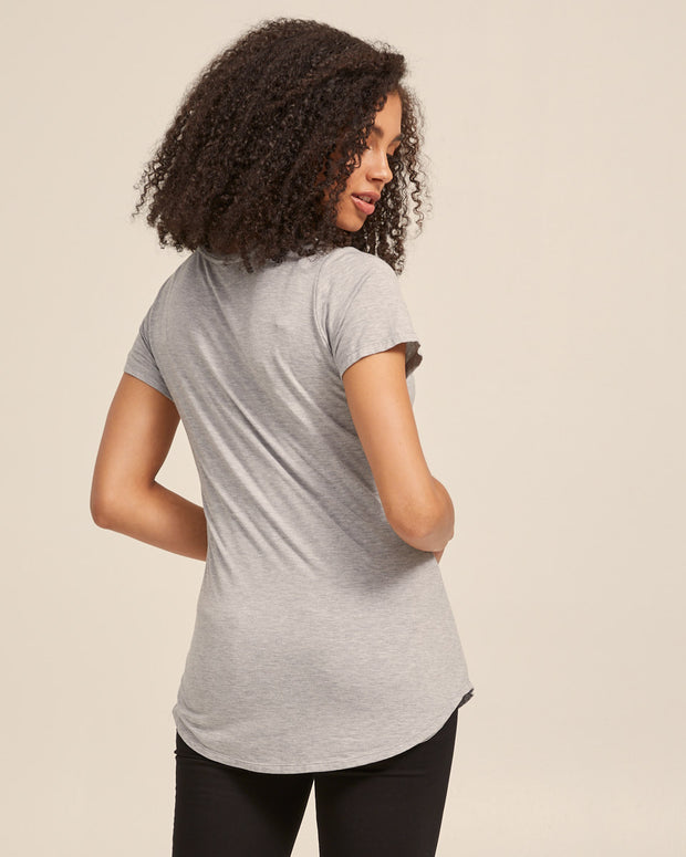 V Neck Bamboo Nursing Tee - Grey Marle - Peachymama - 6