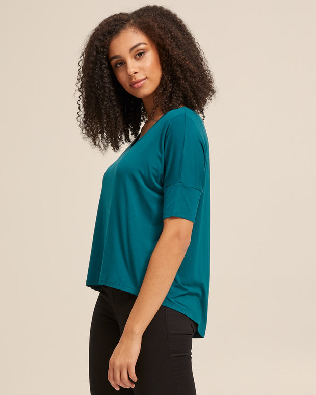 Bamboo Breastfeeding Boxy Tee - Evergreen - Peachymama - 3