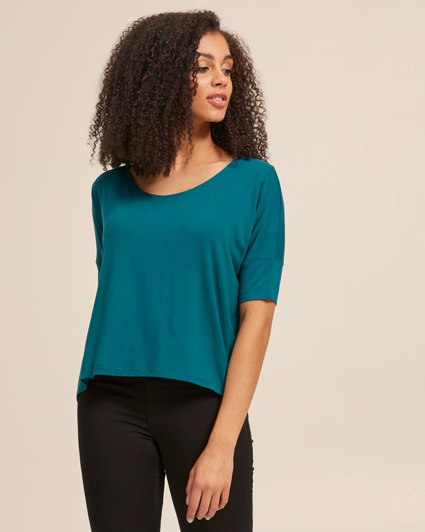 Bamboo Breastfeeding Boxy Tee - Evergreen - Peachymama - 4