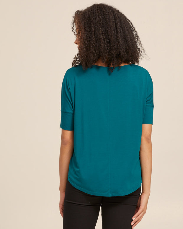 Bamboo Breastfeeding Boxy Tee - Evergreen - Peachymama - 5