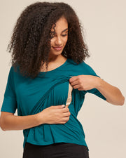 Bamboo Breastfeeding Boxy Tee - Evergreen - Peachymama - 2
