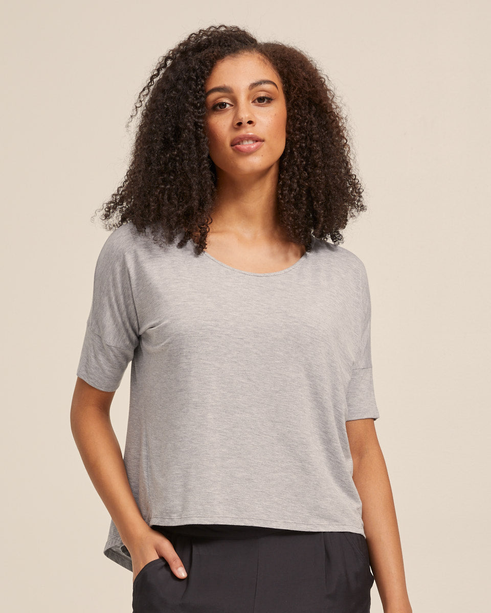 Bamboo Breastfeeding Boxy Tee - Grey Marle - Peachymama - 1
