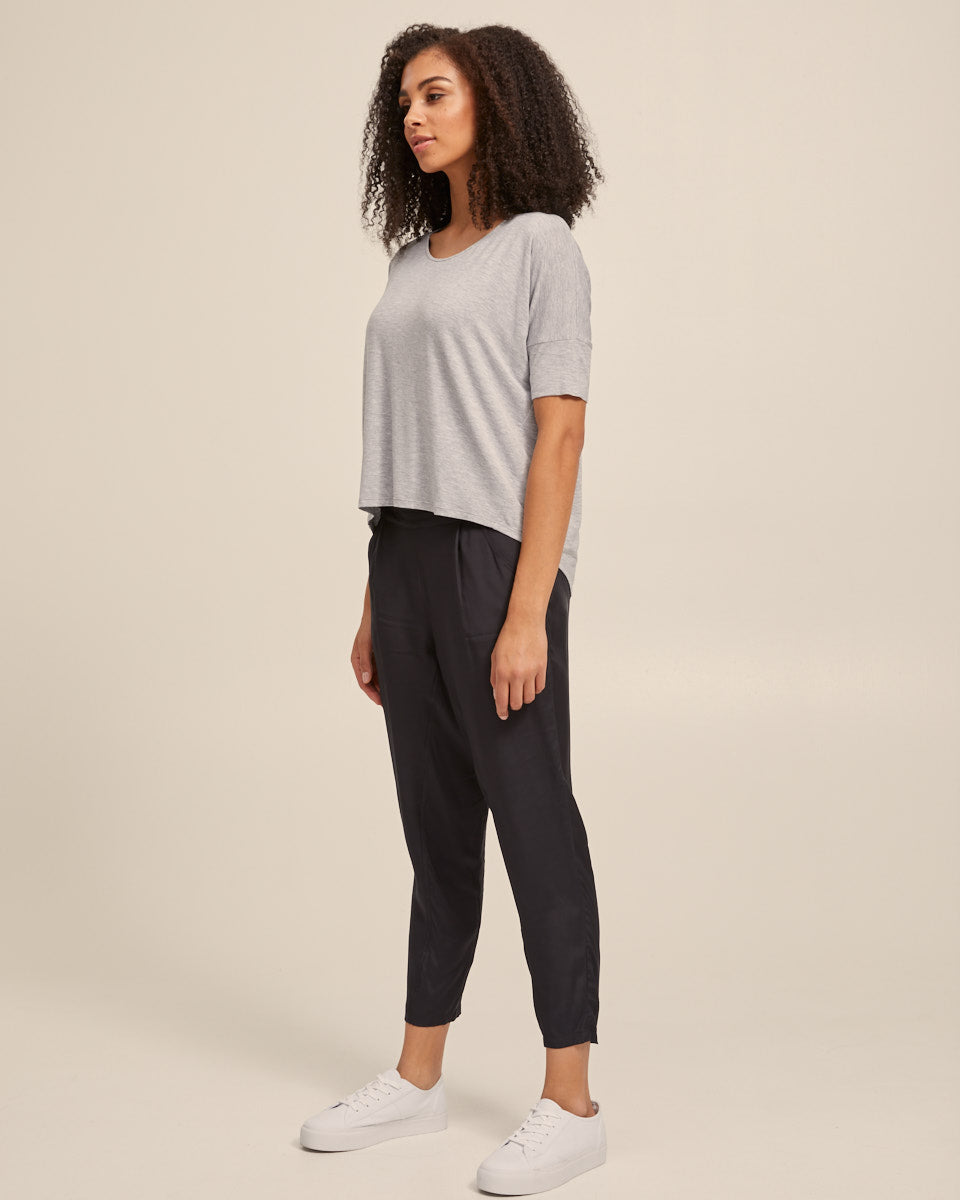 Bamboo Breastfeeding Boxy Tee - Grey Marle - Peachymama - 7