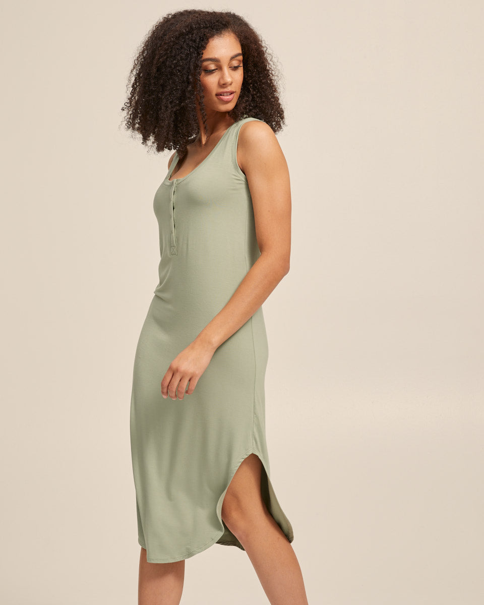 Breastfeeding Tank Dress - Khaki - Peachymama - 5