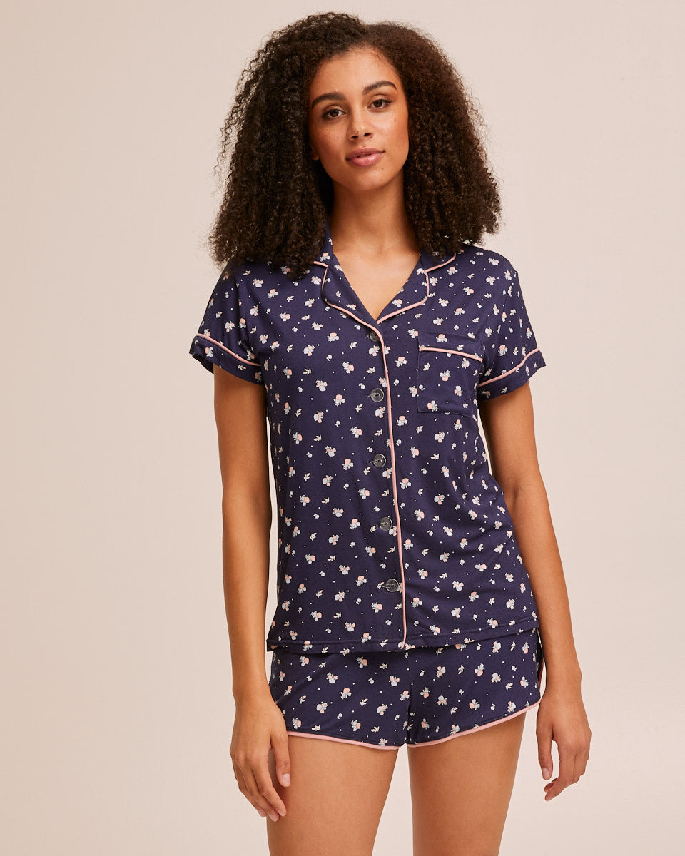 Short Sleeve Bamboo Button Nursing Pyjamas - Navy - Peachymama - 1