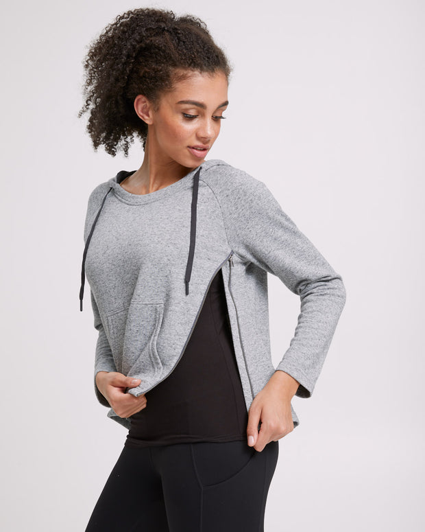 Zip Up Nursing Hoodie - Grey - Peachymama - 2