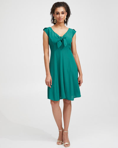 Tie Front Nursing Dress - Evergreen - Peachymama - 1