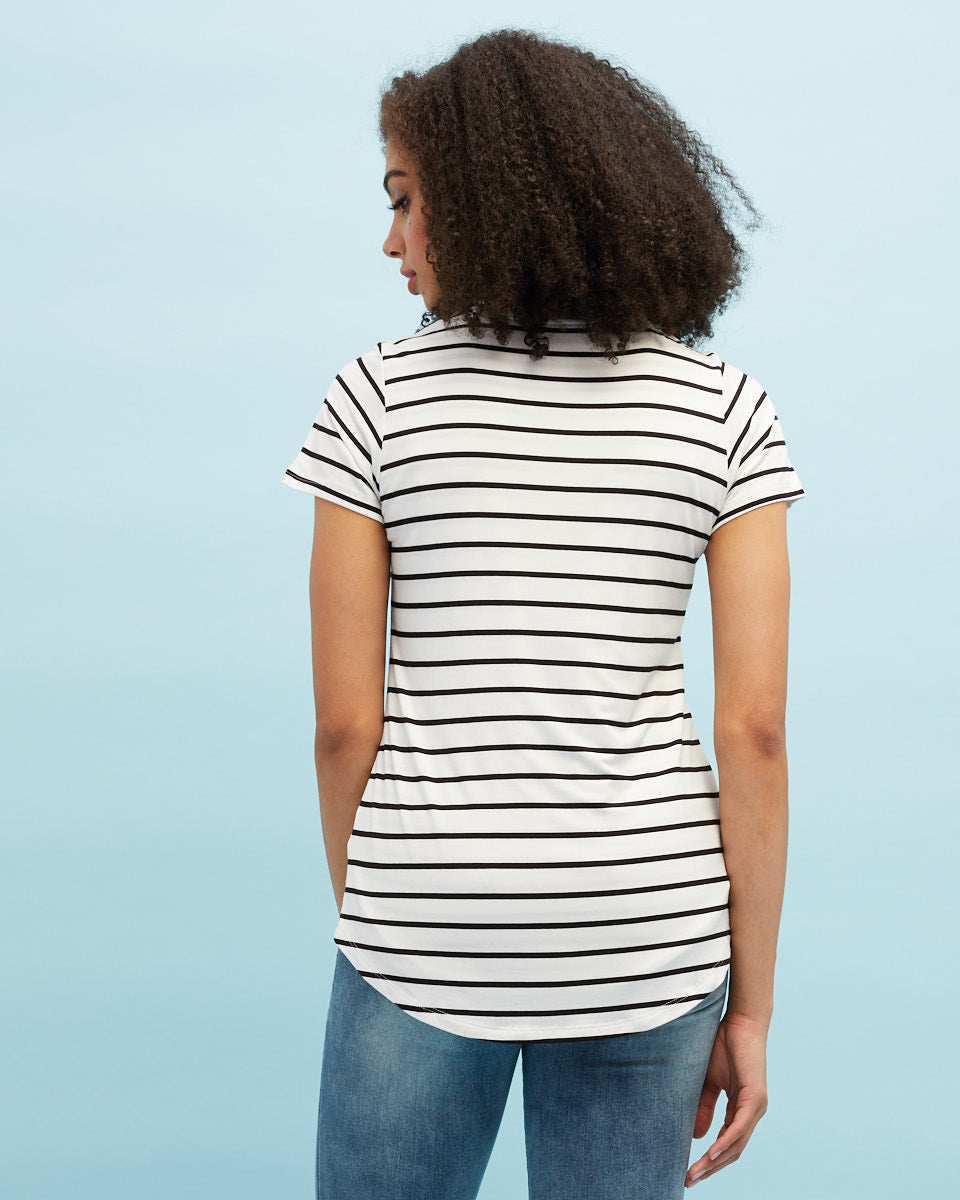 White & black stripe bamboo nursing tee by Peachymama 3