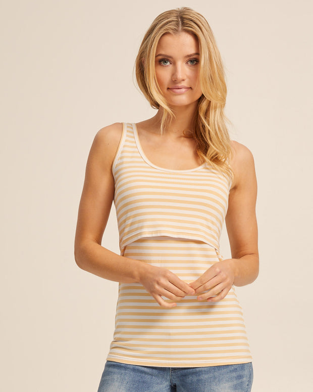Bamboo Nursing Tank in Yellow Stripe - Peachymama - 1