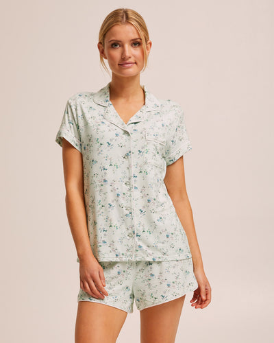 Short Sleeve Bamboo Button Nursing Pyjama - Sage Floral - Peachymama - 1