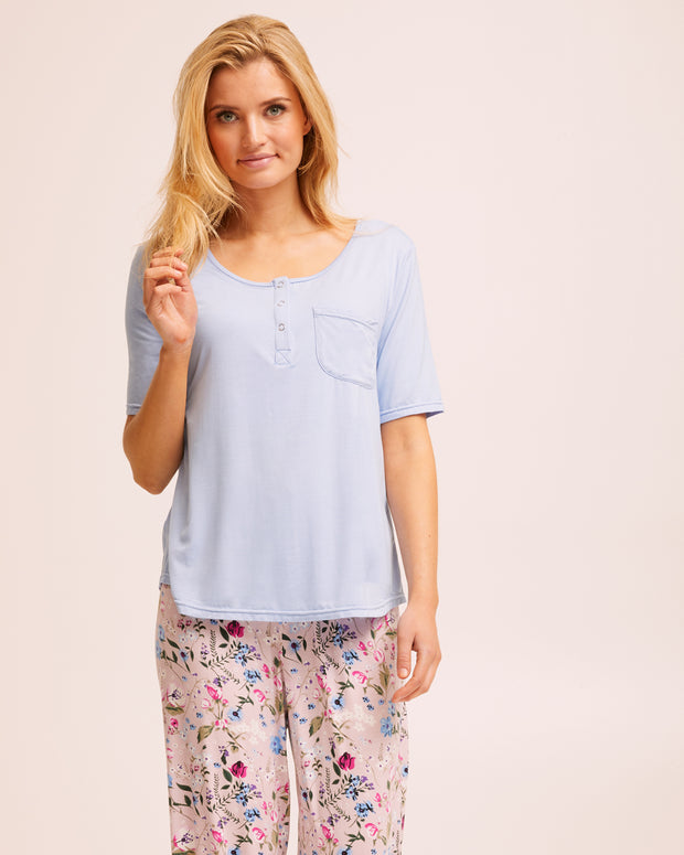 Bamboo Snap Tee Breastfeeding Pyjama Set - Blue