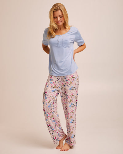 Bamboo Button Tee Breastfeeding Pyjama Set - Blue - Peachymama - 4