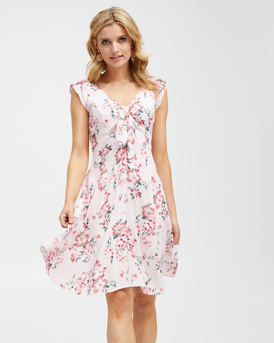 Tie Front Nursing Dress - Pink Floral - Peachymama - 1
