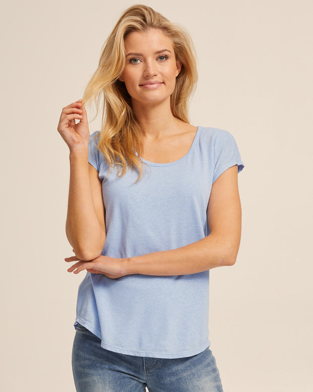Linen Nursing Tee - Blue - Peachymama - 1