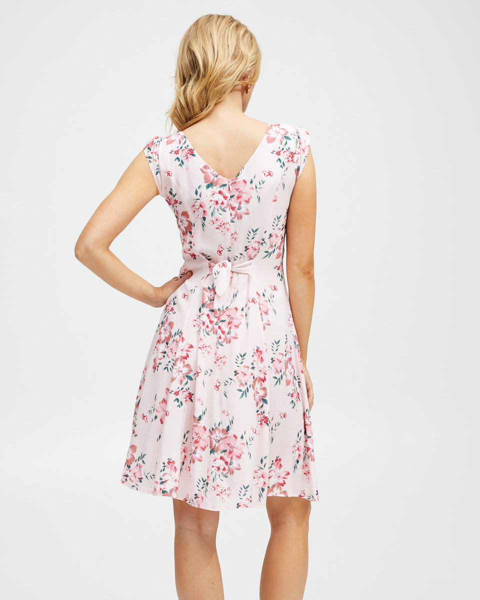 Tie Front Nursing Dress - Pink Floral - Peachymama - 3