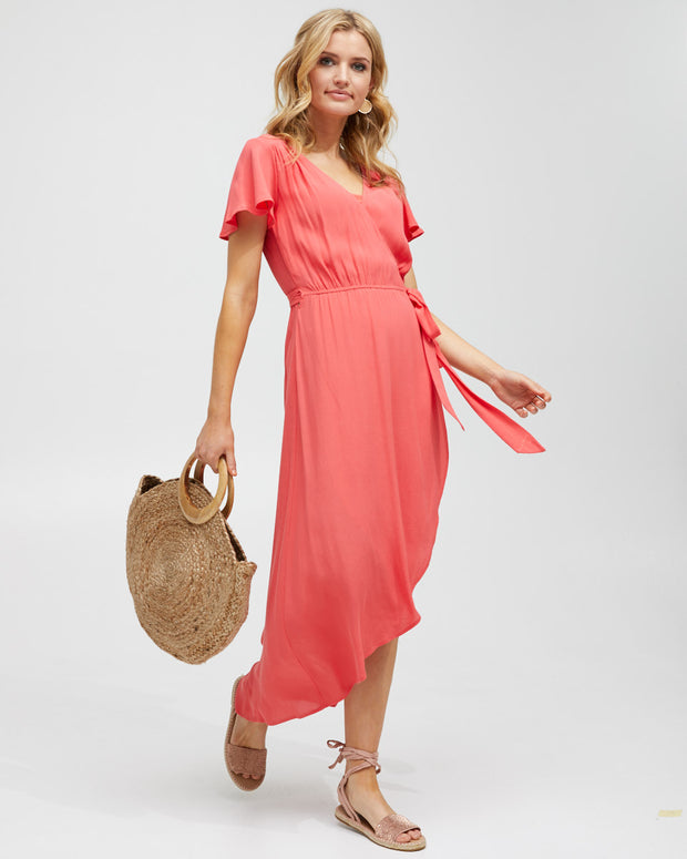 Wrap Nursing Dress - Watermelon - Peachymama - 4