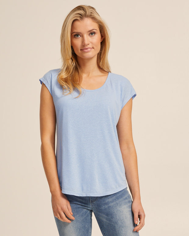 Linen Nursing Tee - Blue - Peachymama - 3