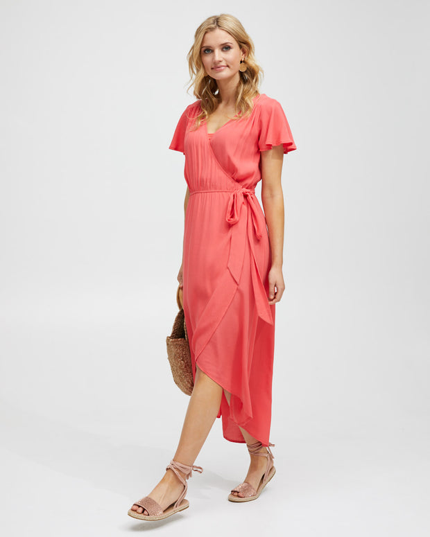 Wrap Nursing Dress - Watermelon - Peachymama - 5
