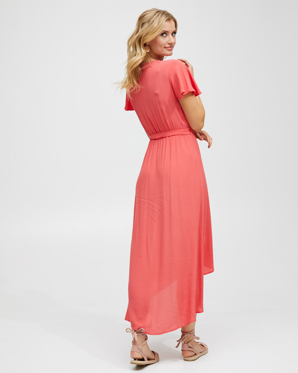 Wrap Nursing Dress - Watermelon - Peachymama - 3