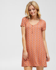Zip Front Breastfeeding Dress - Coral Floral - Peachymama - 1