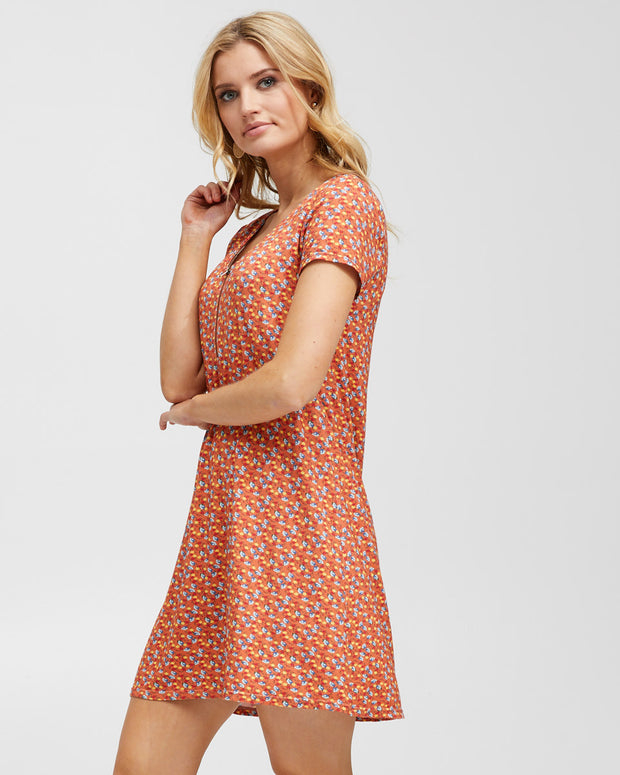 Zip Front Breastfeeding Dress - Coral Floral - Peachymama - 4