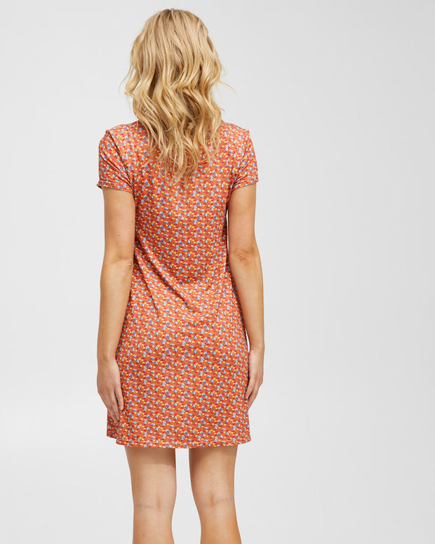 Zip Front Breastfeeding Dress - Coral Floral - Peachymama - 5