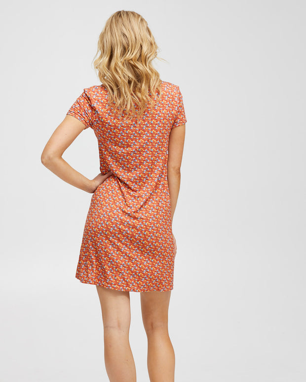 Zip Front Breastfeeding Dress - Coral Floral - Peachymama - 3