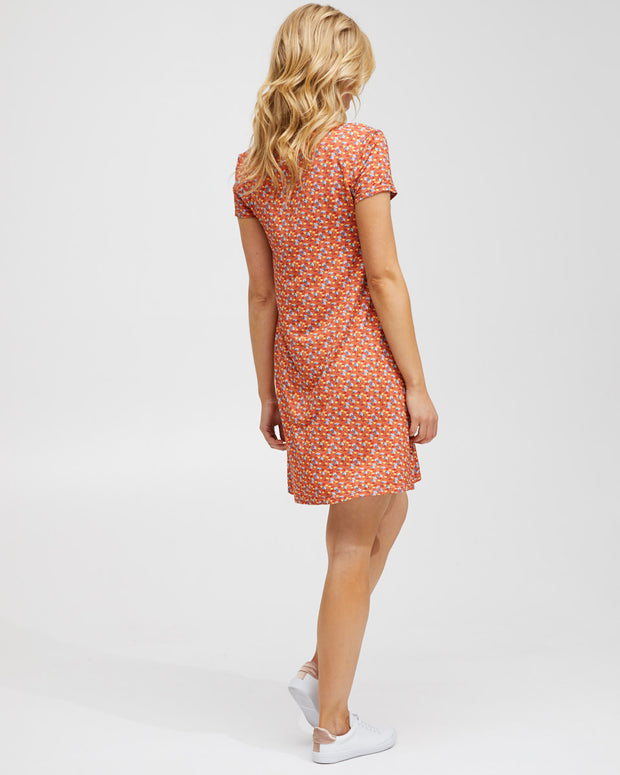 Zip Front Breastfeeding Dress - Coral Floral - Peachymama - 6