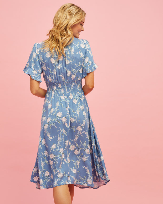 Midi Nursing Dress - Blue Floral - Peachymama - 4
