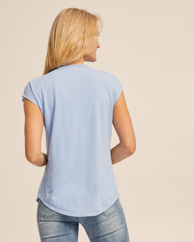 Linen Nursing Tee - Blue - Peachymama - 5