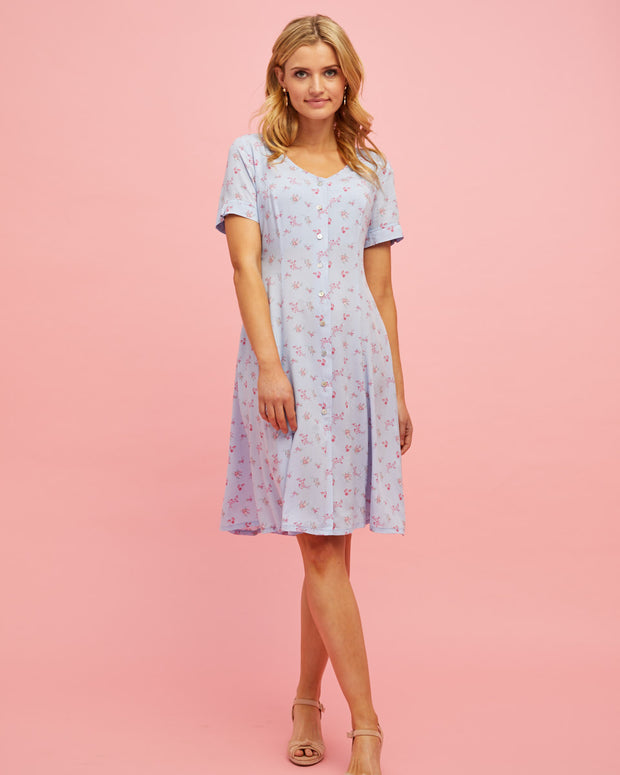 Button Front Nursing Dress - Sky Blue Floral - Peachymama - 1