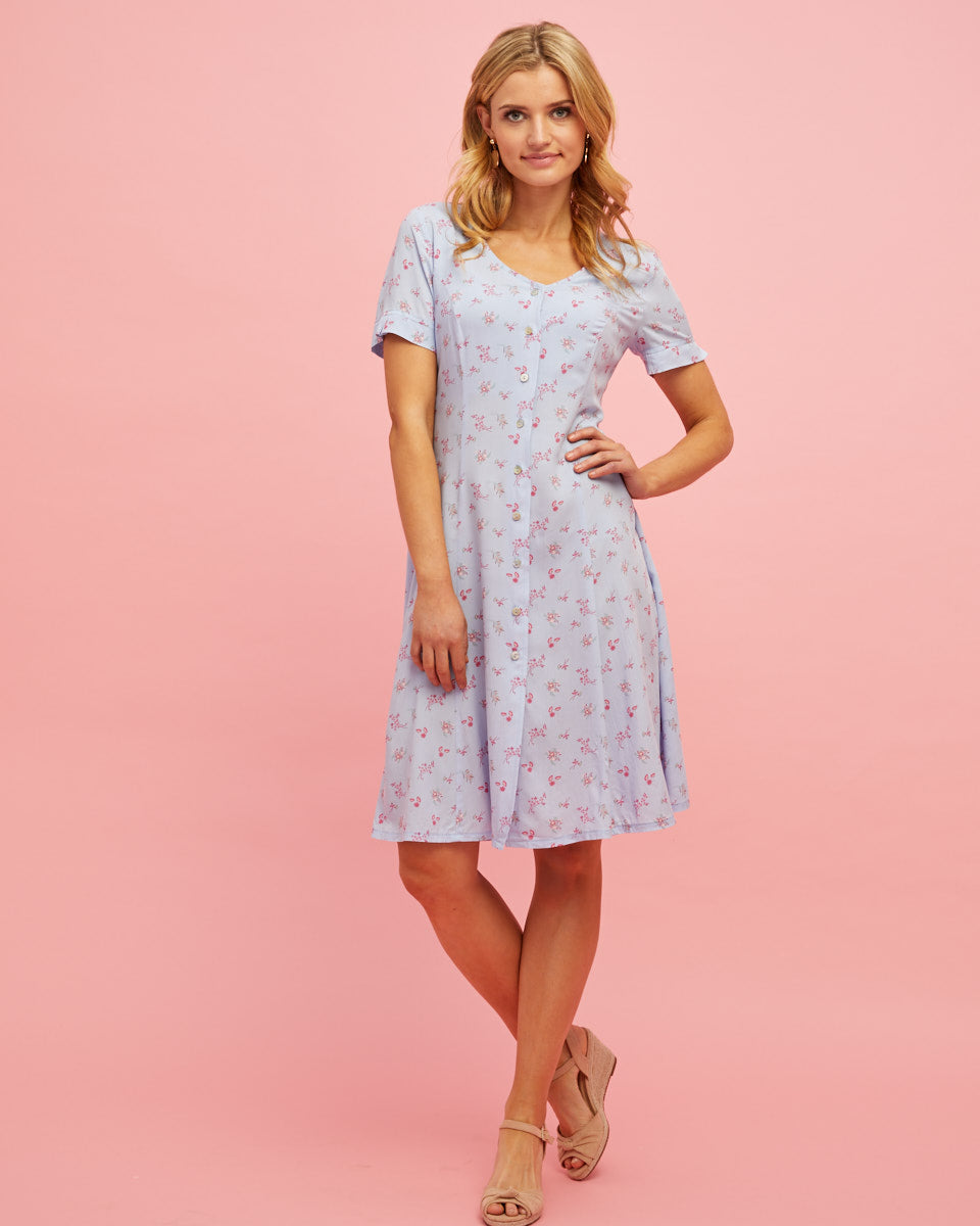 Button Front Nursing Dress - Sky Blue Floral - Peachymama - 3