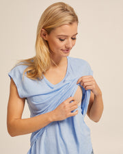 Linen Nursing Tee - Blue - Peachymama - 2