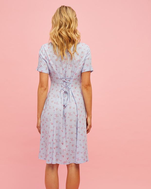 Button Front Nursing Dress - Sky Blue Floral - Peachymama - 5