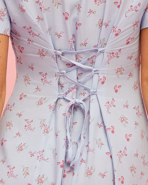 Button Front Nursing Dress - Sky Blue Floral - Peachymama - 6